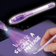 2* BLUE PARTY BAG INVISIBLE WRITING PEN UV LIGHT INK SECRET MESSAGE MAGIC PEN,