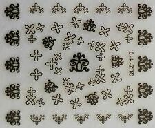 Nail art manucure stickers autocollants pour ongles: croix arabesques noires