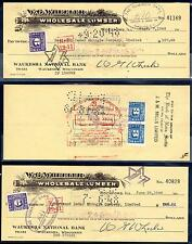 CANADA 1948 SIX W.G. WHEELER WHOLESALE LUMBER CHECKS W/POSTAGE OR REVENUE STAMPS