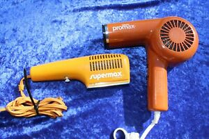 VINTAGE GILLETTE PROMAX SUPERMAX HAIR DRYER BOTH TESTED WORKING 1970'S 1980'S