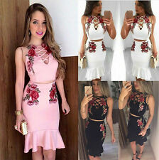 Womens Celeb Crop Top Jumper Bodycon Pencil Midi Skirt Two Piece Set Party Dress