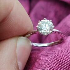 GIA CERTIFIED 0.50CT NATURAL WHITE ROUND CUT ENGAGEMENT WEDDING 14K GOLD RING