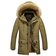 Mens Warm Down Cotton Jacket Fur Collar Thick Winter Hooded Coat Outwear Gifts
