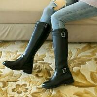 Gothic Womens Knee High Riding Boots Buckles Side Zip Block Heel Knight Shoes S