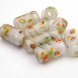 8 Vintage Japanese lampwork large hole white glass murrine cylinder beads 14mm