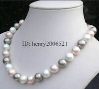 """Wedding 12mm southsea white pink grey shell pearl necklace 18"""""""