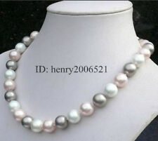 Wedding 12mm southsea white pink grey shell pearl necklace 18""