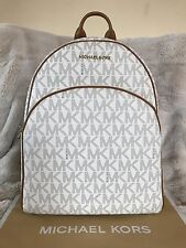 NWT MICHAEL MICHAEL KORS SIGNATURE PVC ABBEY LARGE BACKPACK BAG IN VANILLA/ACORN