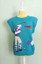 Vintage Novelty Golf Sweater Vest Sleeveless Top Shirt Teal Golfer Male Female S