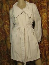 ANN TAYLOR BEIGE BELTED TRENCH COAT NYLON RAIN JACKET SZ XL