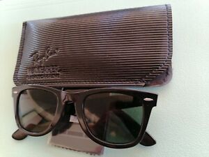 Vintage 70s Ray-Ban B&L RB5024 Black Wayfarer Dark Green Len Sunglasses  w/or c