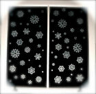 NEW 50 CHRISTMAS WINDOW STICKERS SNOWFLAKES REUSABLE VINYL CLINGS GLITTER XMAS