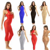 Frauen Sexy Bodycon Midi Kleid Partykleid Reizwäsche durchsichtig Clubwear Sexy