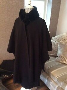 M&S Black Wrap With A Faux Fur Collar One Size