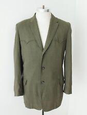 Vtg 50s Rockabilly Green Wool Gabardine Western Blazer Jacket Sport Coat 42
