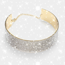 rhinestone collar necklace Crystal banded metal choker necklace