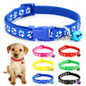 Small Dog Puppy Collar and Bell / Leash Set in 3 Colours Adjustable Paw Design.