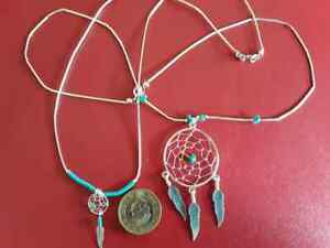 Dream-catcher Necklace with Turquoise in Sterling Silver Small or Large