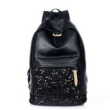 New Women PU Leather Shoulders Bag Sequined Backpack School Bags Rucksack 2017