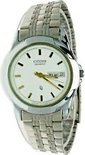 New Old Stock Citizen Round Watch White Face S Steel Day Date W-R 1102-B02830-D