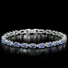 Sterling Silver Bracelet Blue Violet Tanzanite Genuine Gems 7 Inch