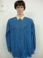 Mens Roper Size XXL Blue Denim Long Sleeve Button Front Western Shirt