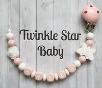 Silicone Personalised Dummy Clip Baby Pink White Butterfly Flower Girls Babies