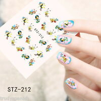 Nail Art Water Transfers Stickers Decals Busy Bumble Bees Buzzing Bees Polish