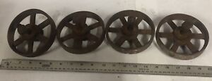 """4 5"""" cast iron beam scale wheels industrial steampunk project decor 1/2"""" axle"""