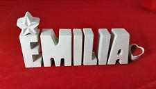 Beton, Steinguss Buchstaben 3D Deko Namen EMILIA als Geschenk verpackt!
