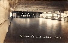 D16/ LeSourdville Lake Ohio Postcard RPPC Pavilion Dance Hall Interior 1944