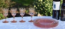 Vintage GOLD Encrusted Rim Needle Etched Pink Optic Wine Liquor Cordial glasses