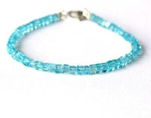 """7"""" BRACELET NATURAL APATITE BEADS BOX SOLID 925 SILVER #D488"""