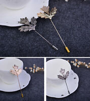 Men Maple Leaf Feather Brooch Collar Stick Breastpin Lapel Pin Suit Accessories