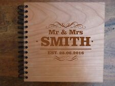 Wooden Wedding Guest book : Engraved wood GuestBook + Wedding Guestbook Sign