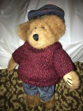 """Boyds Bears Leo Bruinski 10"""" Retired Bear #918320 Burgundy Sweater Hat Jeans"""