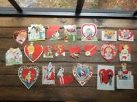 Vintage Die Cut Valentine Cards - Lot of 21