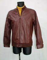 Vtg 70s Vintage Brown Leather Cafe Racer Motorcycle Jacket Biker Mens Retro Sz M