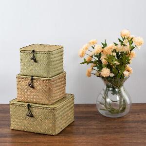 Woven Storage Box  Handmade Straw Basket Sets Organizer with Lid Set of 3 Sizes