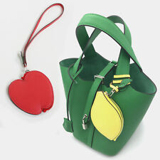 LEATHER FRUIT CHARM & COIN WALLET for Handbags ~ [made in KOREA] Genuine Cowhide