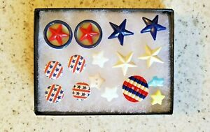 LOT- VINTAGE BUTTONS-RED,WHITE & BLUE STARS & STRIPES LOT  #211