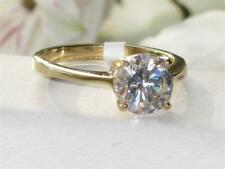 Ladies gold ring solitaire 1.50 carat cz steel 18kt cubic engagement new 1405
