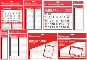 2022 WALL CALENDAR HOME OFFICE EASY / LARGE / SLIM / 3 MONTH TO VIEW