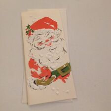 Vintage Greeting Card Christmas Santa Claus White Puffs Hawthorne