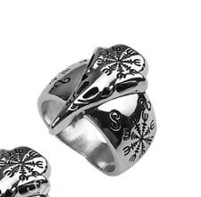 Helm Of Awe Raven Skull Norse Viking Ring Size U