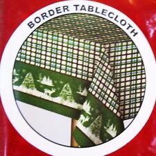 CHRISTMAS DEER BORDER VINYL TABLECLOTH~Flannel Back~52x70 Oblong~Primitive~NEW.