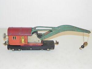 Lionel O Ga. #810 Prewar Operating Crane Car Terracotta & Maroon NICE