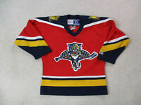 VINTAGE CCM Florida Panthers Hockey Jersey Youth Medium Red Blue SEWN Kids A24