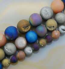 Natural Druzy Quartz Agate Round Beads 6mm 8mm 10mm 12mm 14mm