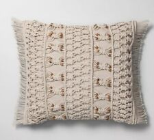 Opalhouse Decorative Bed Throw Pillow Neutral Macrame Wood Bead Square Boho